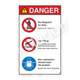 Danger/No Lifeguard on Duty Sign (WSS3305-23b-e) )
