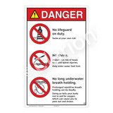 Danger/No Lifeguard on Duty Sign (WSS3306-23b-e) )