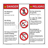 Danger/No Lifeguard on Duty Sign (WSS3306-24b-esm) )