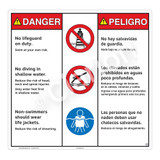 Danger/No Lifeguard on Duty Sign (WSS3307-24b-esm) )