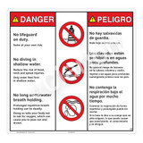 Danger/No Lifeguard on Duty Sign (WSS3308-24b-esm) )