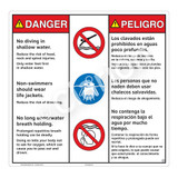 Danger/No Diving in Shallow Water Sign (WSS3315-24b-esm) )