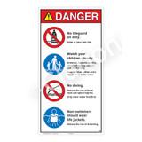 Danger/No Lifeguard on Duty Sign (WSS3401-27b-e) )