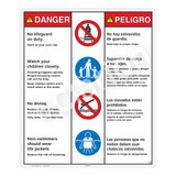 Danger/No Lifeguard on Duty Sign (WSS3401-26b-esm) )