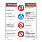Danger/No Lifeguard on Duty Sign (WSS3402-26b-esm) )