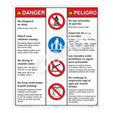 Danger/No Lifeguard on Duty Sign (WSS3404-26b-esm) )