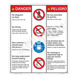 Danger/No Lifeguard on Duty Sign (WSS3405-26b-esm) )