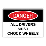Danger/Drivers Check Wheels Sign (OS1109DH-)