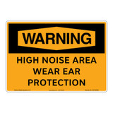 Warning/High Noise Area Wear Ear Protection Sign (OS1129WH-)