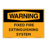 Warning/Fixed Fire Extinguishing System Sign (OS1178WH-)