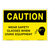 Caution/Wear Safety Glasses Sign (OS1212CH-)