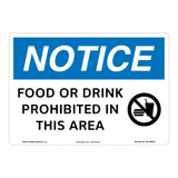Notice/Food Or Drink Prohibited Sign (OS1253NH-)