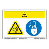 Caution/Equipment Starts Automatically Label (WF2-013-CH)