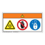 Warning/Equipment Starts Automatically/Stay Clear Label (WF3-017-WH)