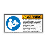 Warning/Do Not Operate Label (H6126-G40WH)