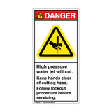 Danger/High Pressure Water Label (H1137-C0DV)