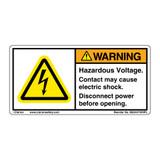 Warning/Hazardous Voltage label (8550-01WHPL)