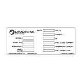 Grand Rapids Data Plate (C34389-01)