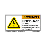 Warning/High Voltage 48 VDC (H6010-497WHPL)