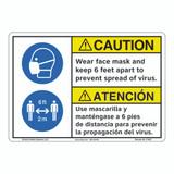 Caution/Face Mask/6 ft Apart (F1367-)