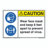 Caution/Face Mask/6 ft Apart (FL1115-)