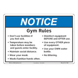 Notice/Gym Rules (F1386-)