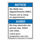 Notice/No Walk Ins (F1396-)