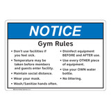 Notice/Gym Rules (FL1134-)