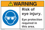 Warning/Risk of eye injury. Eye protection required in this area (FM186-)