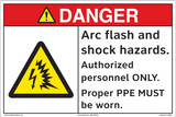 DANGER/Arc flash and shock hazards. Authorized personnel ONLY. Proper PPE MUST be worn.(FM202-)