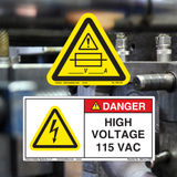 Specific Voltage and Fuse Labels