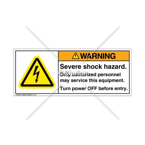 Warning/Severe Shock Hazard Label (H6010-KEWHP-62)