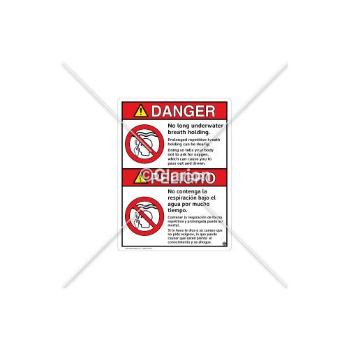 Danger/No Long Breath Holding Sign (WSS3106-13b-sm)
