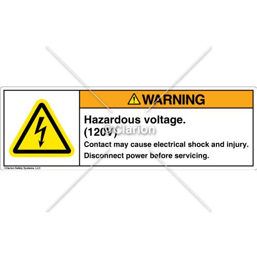 Warning/Hazardous Voltage Label (H6010-SPWHTT)