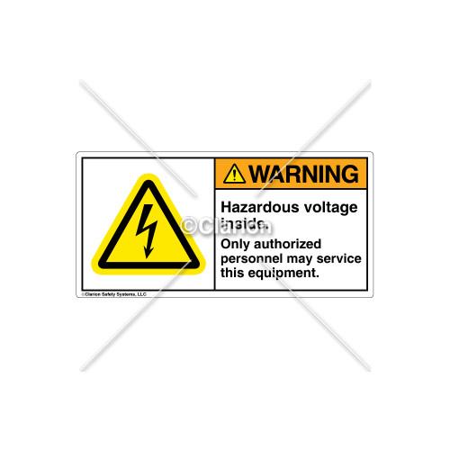 Warning/Hazardous Voltage Inside Label (H6010-X7WHP-YN)