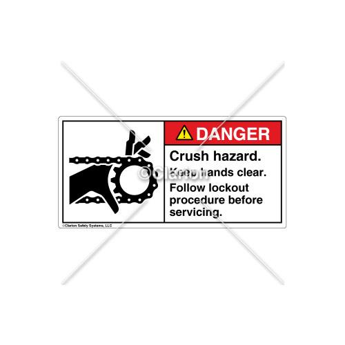 Danger/Crush Hazard Label (1012-31DHPL Wht)