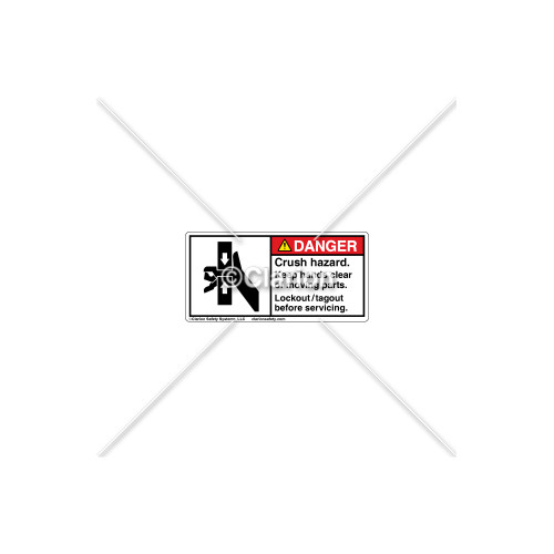 Danger/Crush Hazard Label (1160-T5DHPL Wht)