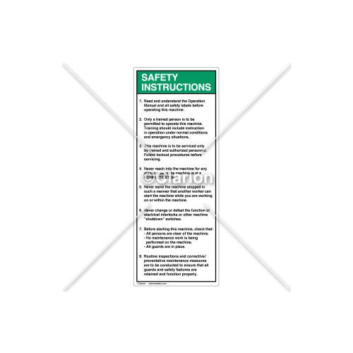 Safety Instructions 1-8 Label (7002-DRSVP-58)