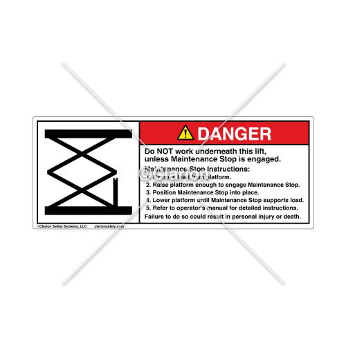 Danger/Do Not Work Label (961-0305)