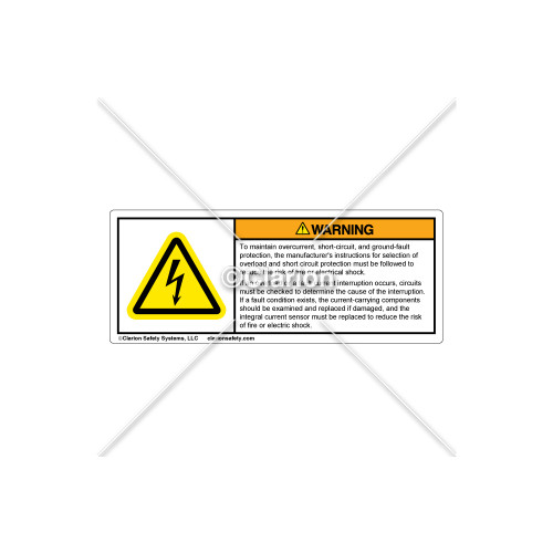 Warning/To Maintain Overcurrent Label (H6010-B68WHPH)