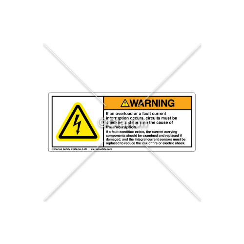 Warning/Overload or Fault Current Label (H6010-521WHPH)