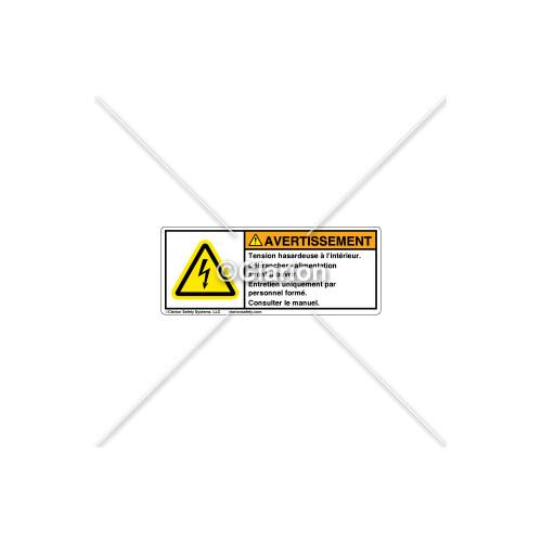Warning/Hazardous Voltage Label (8923-01WHPI)