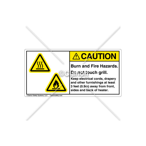 Caution/Burn and Fire Label (C7843-01)