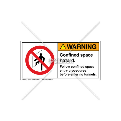 Warning/Confined Space Hazard Label (C8021-02)