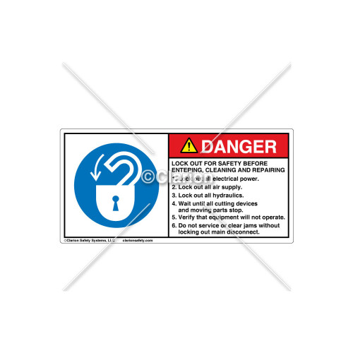 Danger/Lock Out For Safety Label (312433)