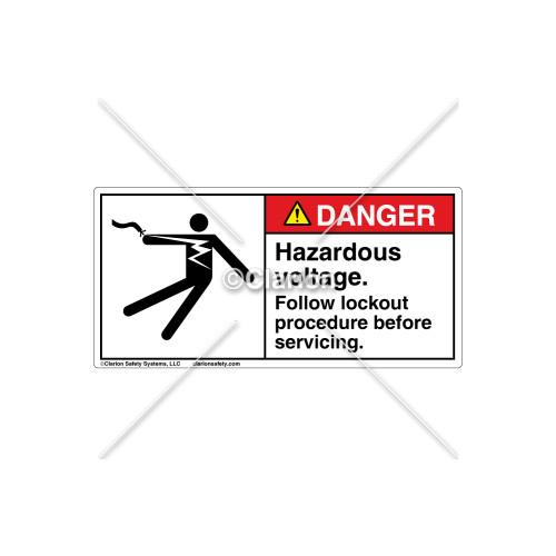 Danger/Hazardous Voltage Label (5025-19DHPJ Wht)
