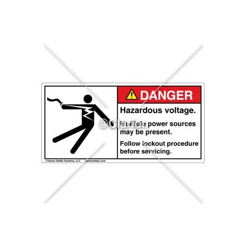 Danger/Hazardous Voltage Label (5025-Z2DHPJ Wht)