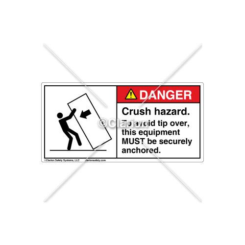 Danger/Crush Hazard Label (5135-RHDHPJ Wht)