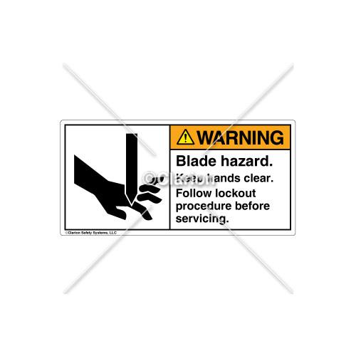 Warning/Blade Hazard Label (1001-17WHBJ Wht)