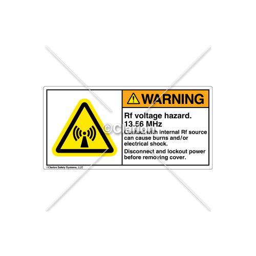 Warning/Rf Voltage Hazard Label (H6027-436WHPJ)